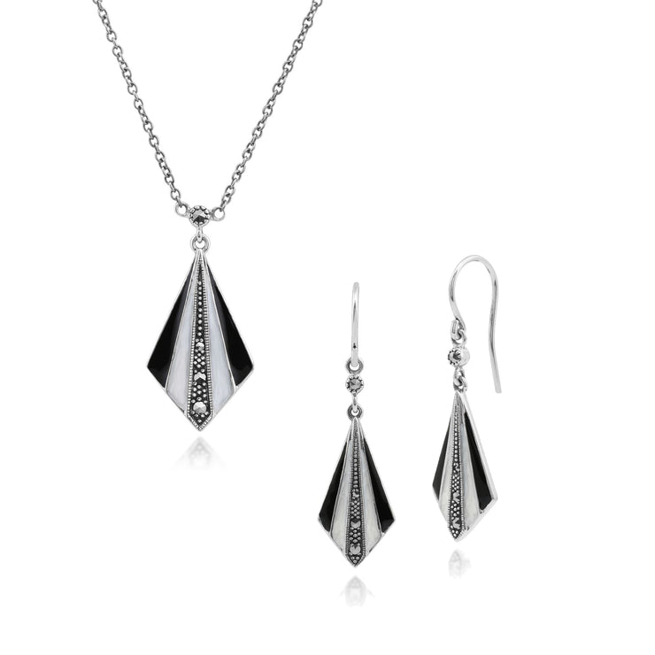 Art Deco Style Enamel & Marcasite Fan Drop Earrings & Necklace Set in 925 Sterling Set