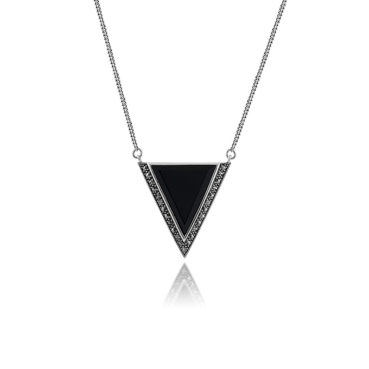 Art Deco Style Triangle Black Onyx & Marcasite Necklace in 925 Sterling Silver