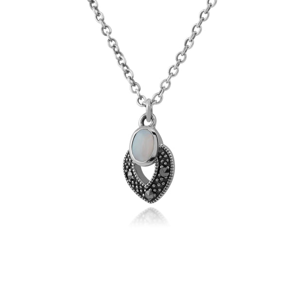 Art Deco Style Oval Opal & Marcasite Necklace in 925 Sterling Silver