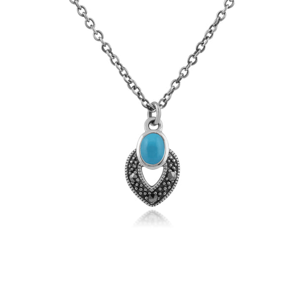 Art Deco Style Oval Turquoise & Marcasite Necklace in 925 Sterling Silver