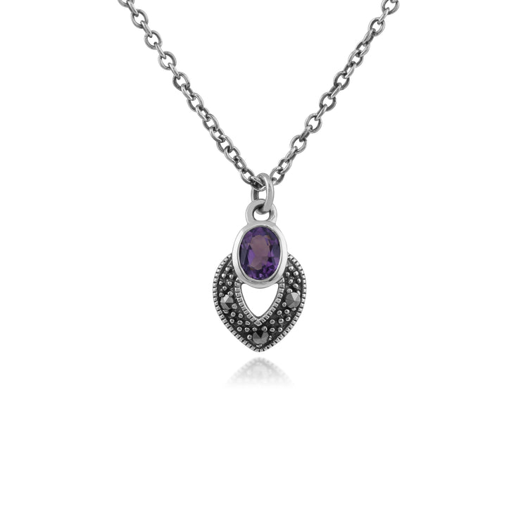 Art Deco Style Oval Amethyst & Marcasite Necklace in 925 Sterling Silver