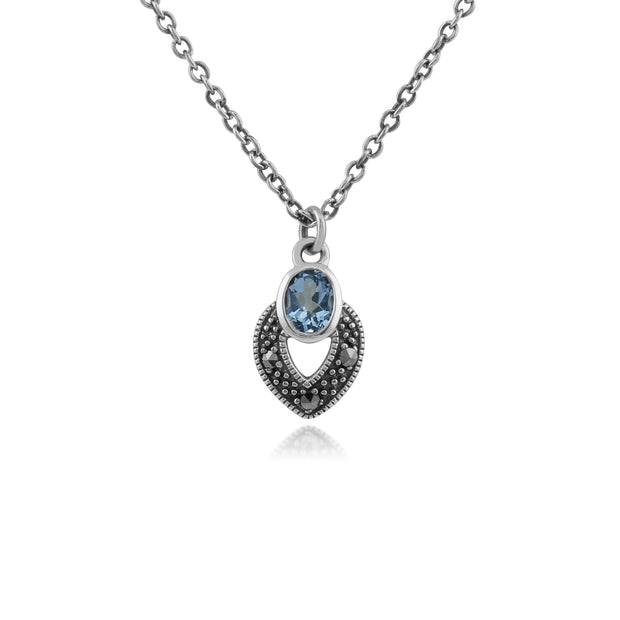 Art Deco Style Oval Aquamarine & Marcasite Necklace in 925 Sterling Silver