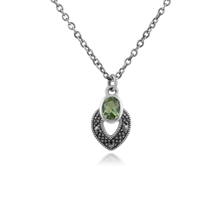 Art Deco Style Oval Peridot & Marcasite Necklace in 925 Sterling Silver