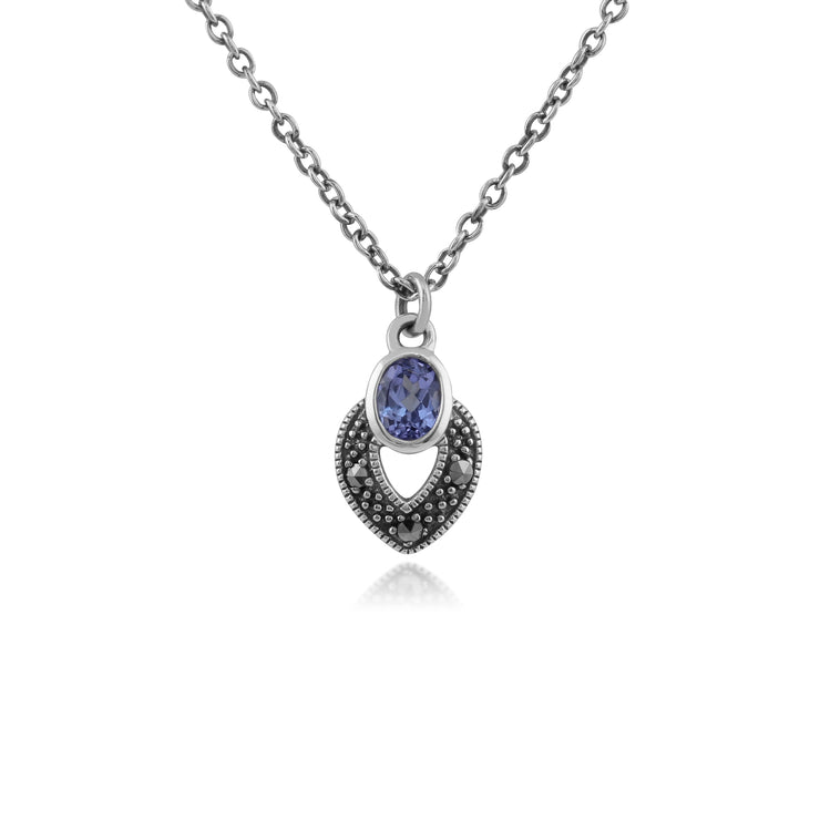 Art Deco Style Oval Tanzanite & Marcasite Necklace in 925 Sterling Silver