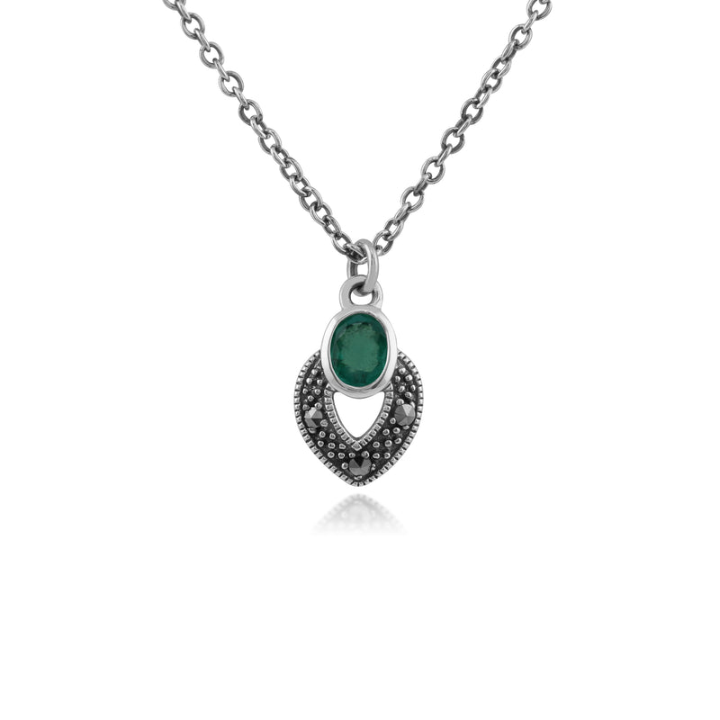 Art Deco Style Oval Emerald & Marcasite Necklace in 925 Sterling Silver