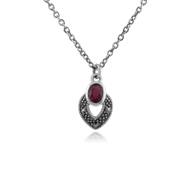 Art Deco Style Oval Ruby & Marcasite Necklace in 925 Sterling Silver