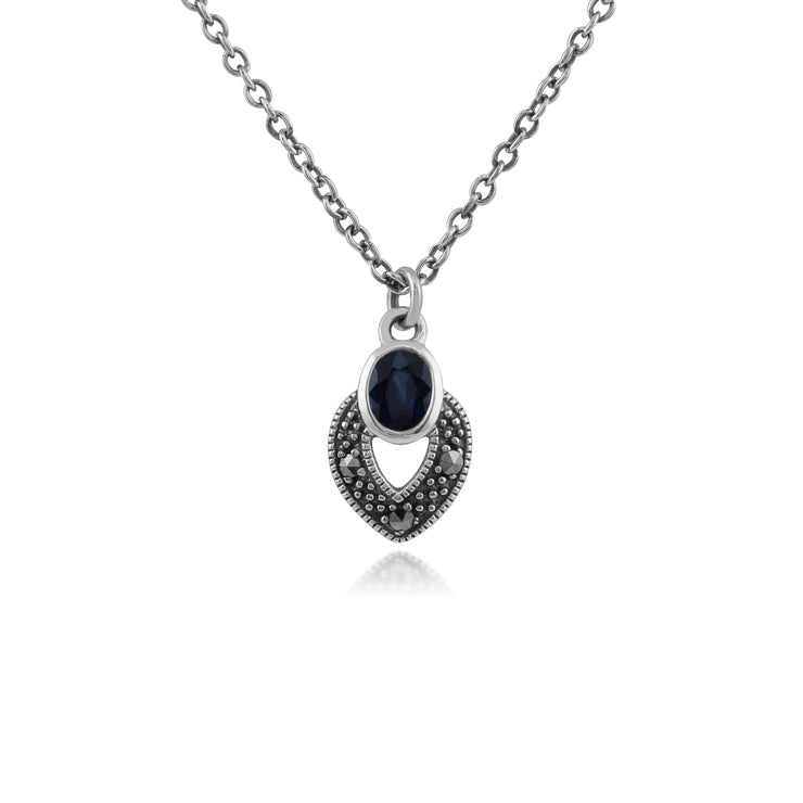 Art Deco Style Oval Sapphire & Marcasite Necklace in 925 Sterling Silver