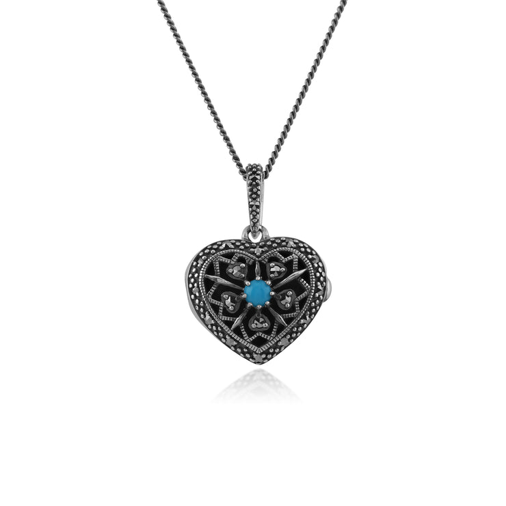 Art Nouveau Style Round Turquoise & Marcasite Heart Necklace in 925 Sterling Silver