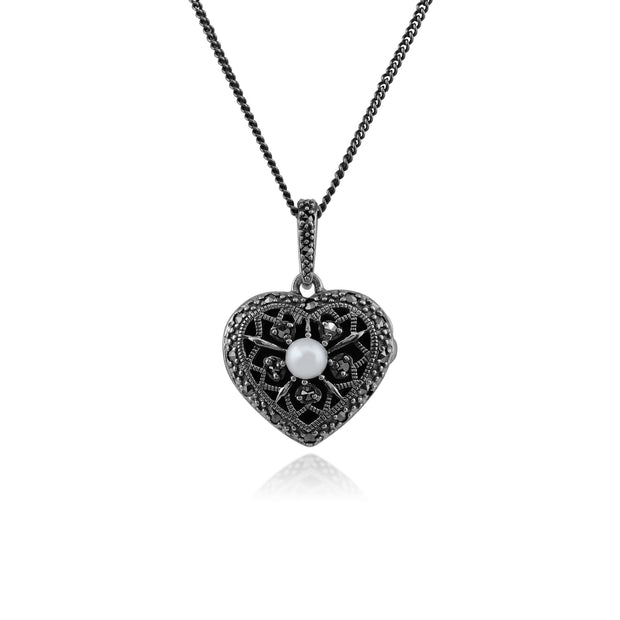 Art Nouveau Style Pearl & Marcasite Heart Necklace in 925 Sterling Silver