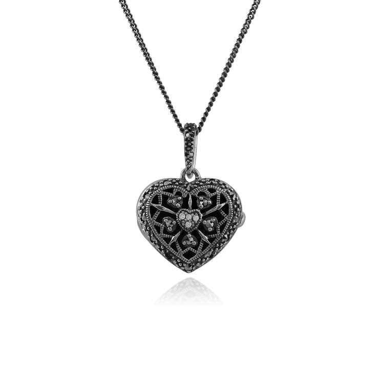 Art Nouveau Style Round Diamond & Marcasite Heart Necklace in 925 Sterling Silver