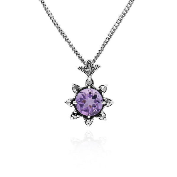 Floral Round Amethyst & Marcasite Pendant in 925 Sterling Silver