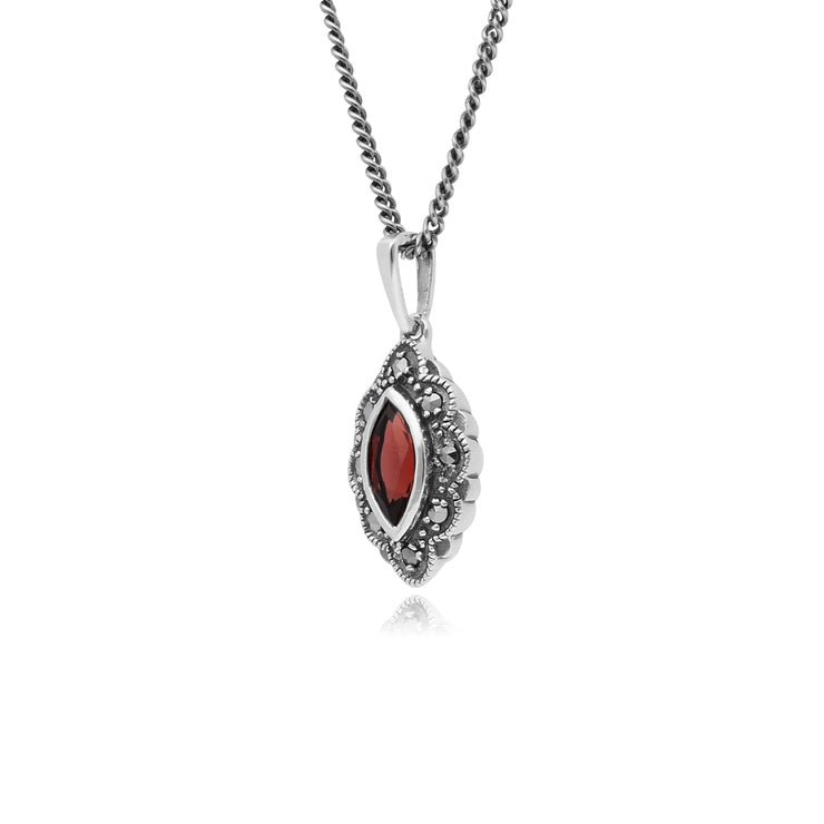 Art Deco Style Marquise Garnet & Marcasite Pendant in 925 Sterling Silver