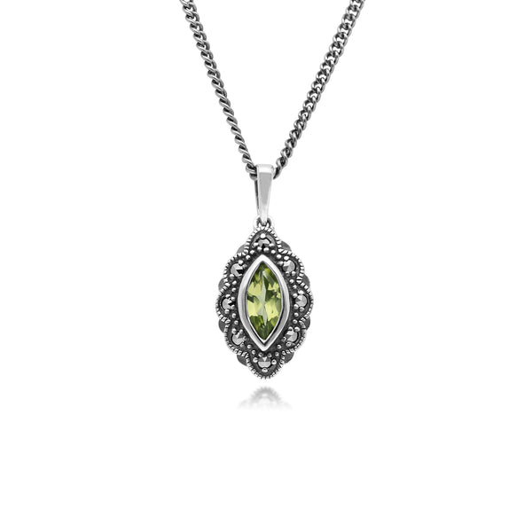Art Deco Style Marquise Peridot & Marcasite Pendant in 925 Sterling Silver