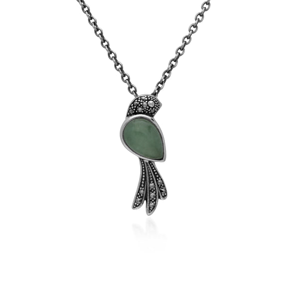 Classic Pear Green Jade & Marcasite Bird Necklace in 925 Sterling Silver
