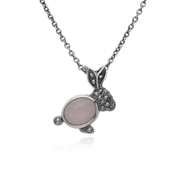 Gemondo Sterling Silver Rose Quartz & Marcasite Rabbit 45cm Necklace