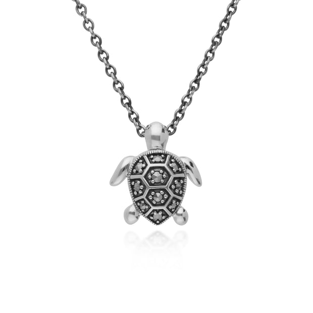 Classic Round Marcasite Turtle Necklace in 925 Sterling Silver