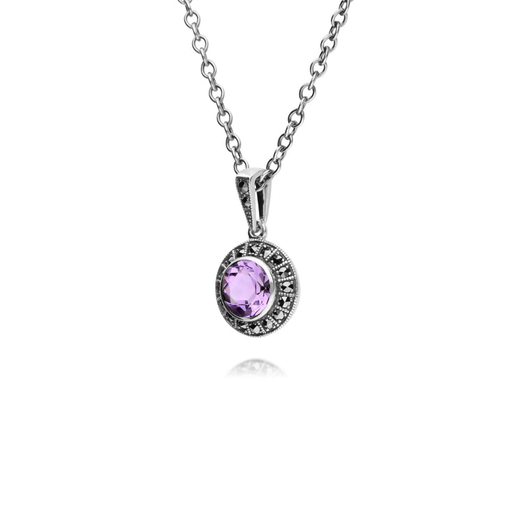 Art Deco Style Round Amethyst & Marcasite Halo Pendant in 925 Sterling Silver
