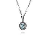 Gemondo Sterling Silver Round Blue Topaz and Marcasite Cluster 45cm Necklace
