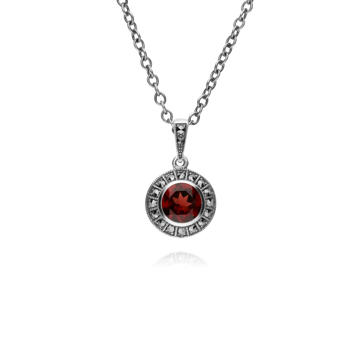 Art Deco Style Round Garnet & Marcasite Halo Pendant in 925 Sterling Silver