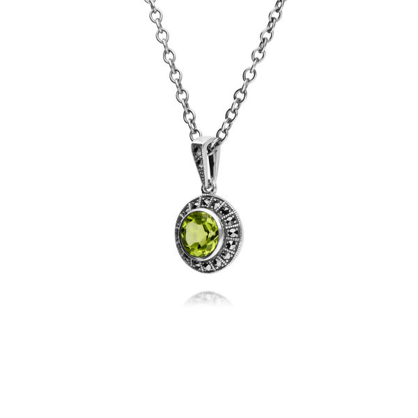 Art Deco Style Round Peridot & Marcasite Halo Pendant in 925 Sterling Silver