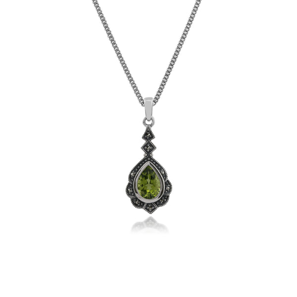 Art Nouveau Style Pear Peridot & Marcasite Leaf Pendant in 925 Sterling Silver