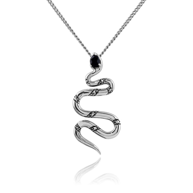 Art Deco Style Pear Black Spinel & Marcasite Snake Necklace in 925 Sterling Silver