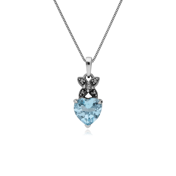 Sterling Silver Blue Topaz & Marcasite February Heart Pendant on 45cm Chain