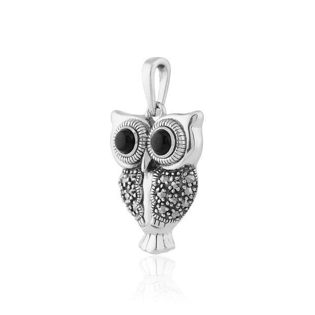 Art Deco Black Onyx & Marcasite Owl Pendant on Chain Image 2