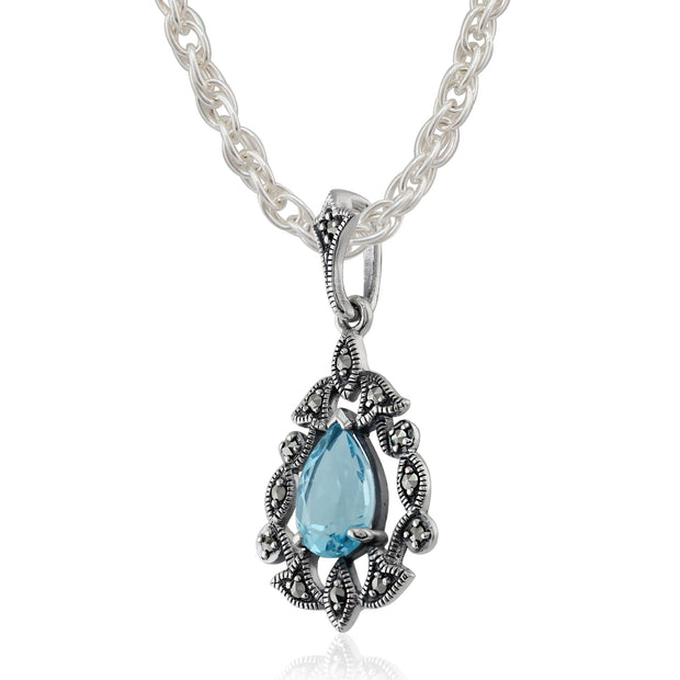 Art Nouveau Style Pear Blue Topaz & Marcasite Pendant in 925 Sterling Silver