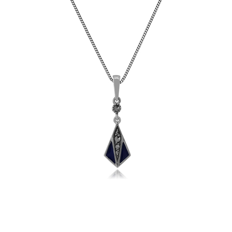 Gemondo Sterling Silver Blue Enamel & Marcasite Art Deco Pendant on 45cm Chain Image