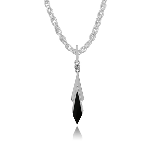 Art Deco Style Black Onyx & Marcasite Kite Drop Pendant in 925 Sterling Silver