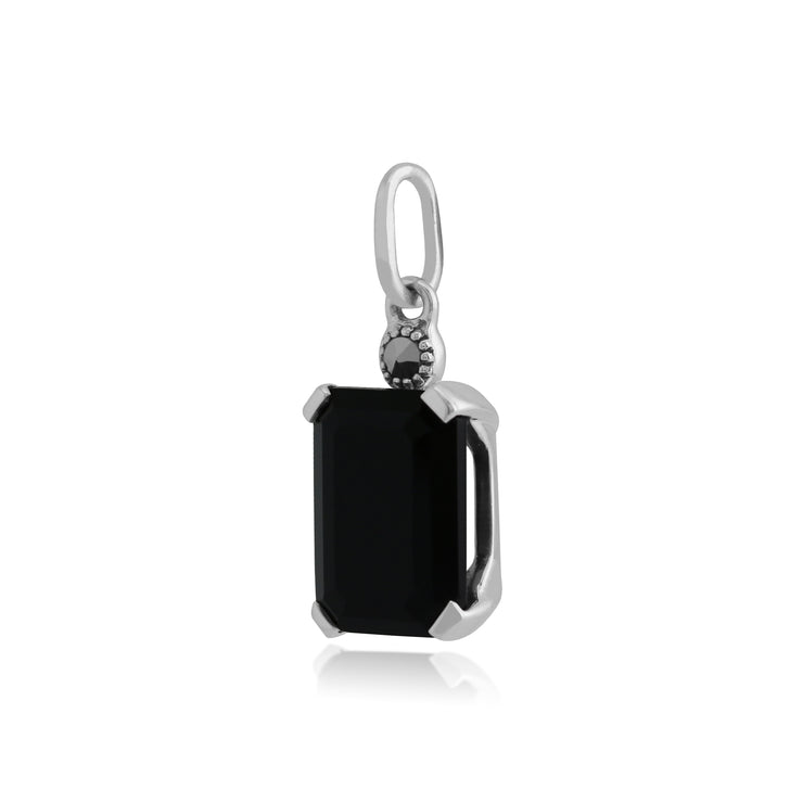 Art Deco Style Octagon Black Onyx & Marcasite Pendant in 925 Sterling Silver