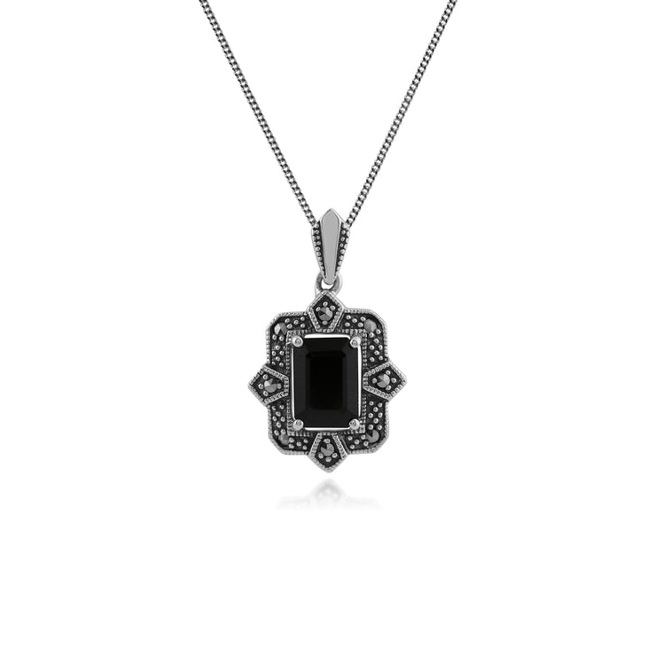 Art Deco Style Octagon Black Spinel & Marcasite Pendant in 925 Sterling Silver