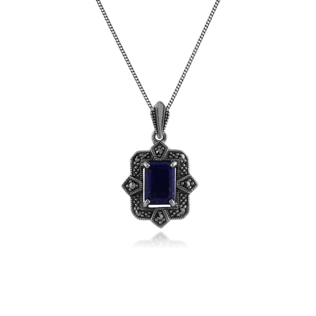 Art Deco Style Octagon Lapis Lazuli & Marcasite Pendant in 925 Sterling Silver