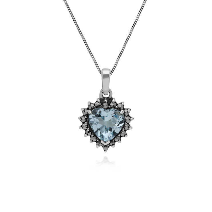 Art Deco Style Heart Blue Topaz & Marcasite Halo Pendant in 925 Sterling Silver
