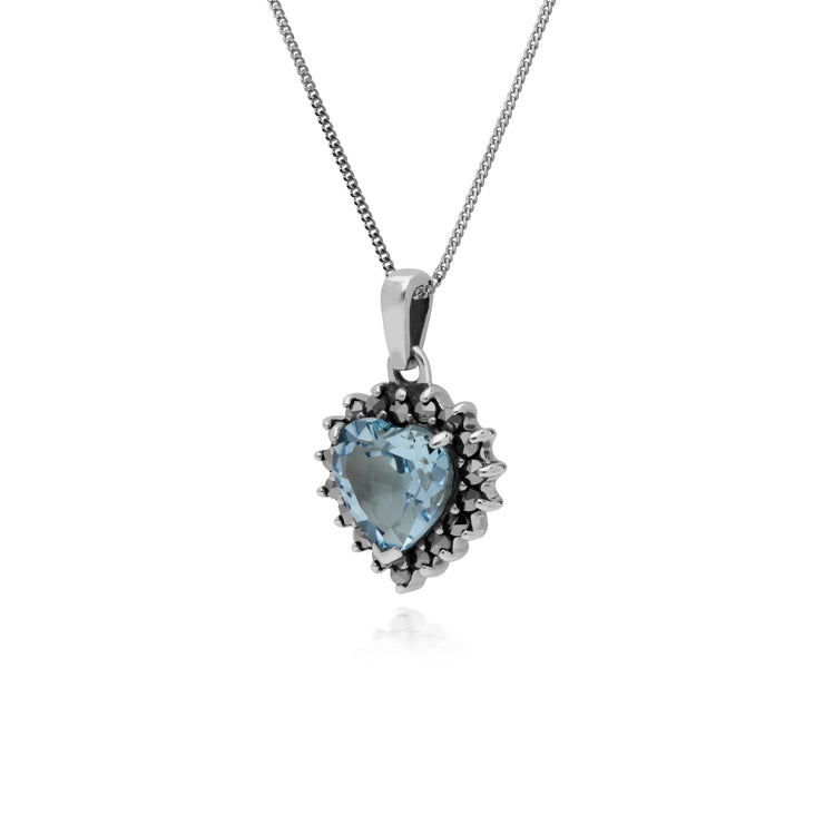Gemondo Sterling Silver Blue Topaz & Marcasite Heart Pendant with 45cm Chain
