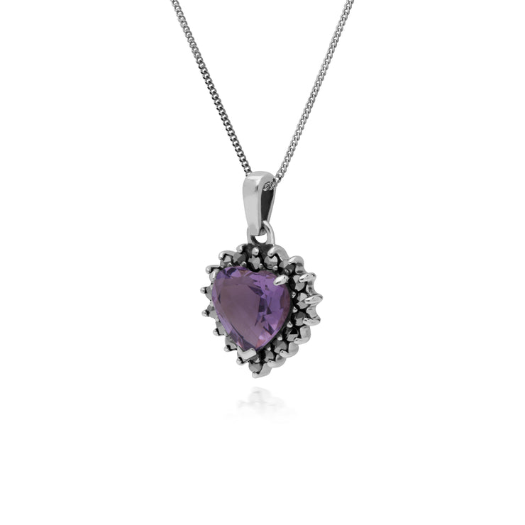 Art Deco Style Heart Amethyst & Marcasite Halo Pendant in 925 Sterling Silver