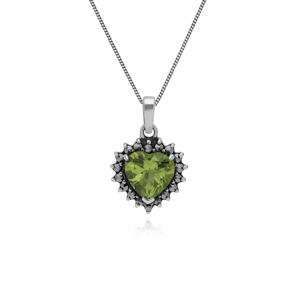 Art Deco Style Heart Peridot & Marcasite Halo Pendant in 925 Sterling Silver