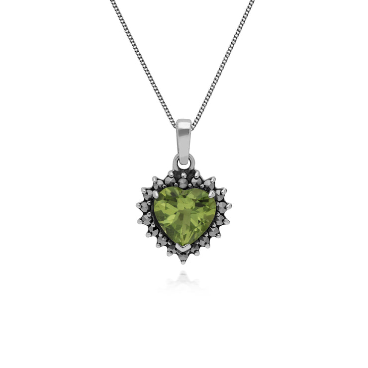 Gemondo Sterling Silver Peridot & Marcasite Heart Pendant with 45cm Chain