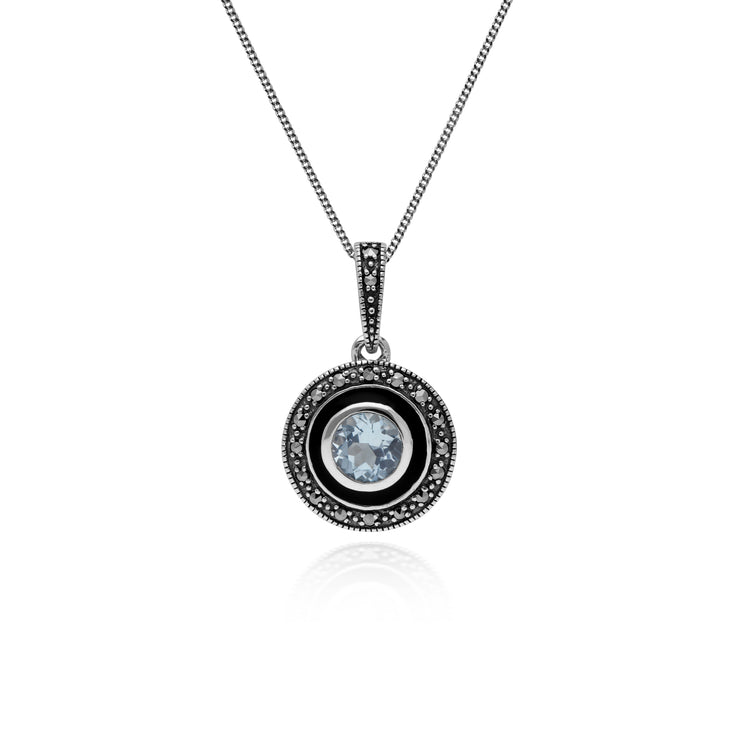 Art Deco Style Round Blue Topaz, Marcasite & Black Enamel Pendant in 925 Sterling Silver