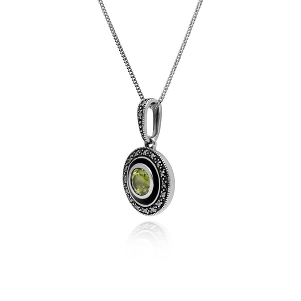 Art Deco Style Round Peridot, Marcasite & Black Enamel Pendant in 925 Sterling Silver