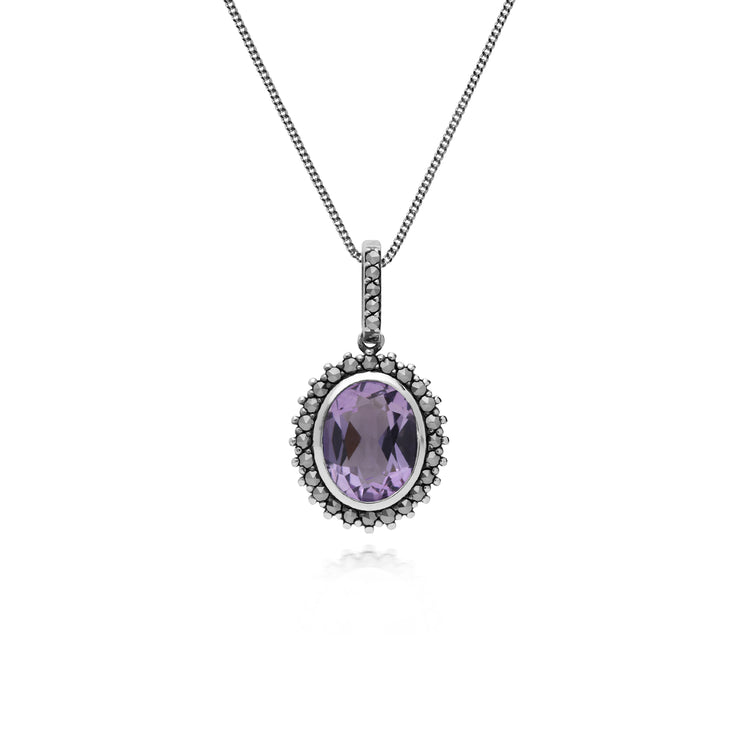 Art Deco Style Oval Amethyst & Marcasite Halo Pendant in 925 Sterling Silver