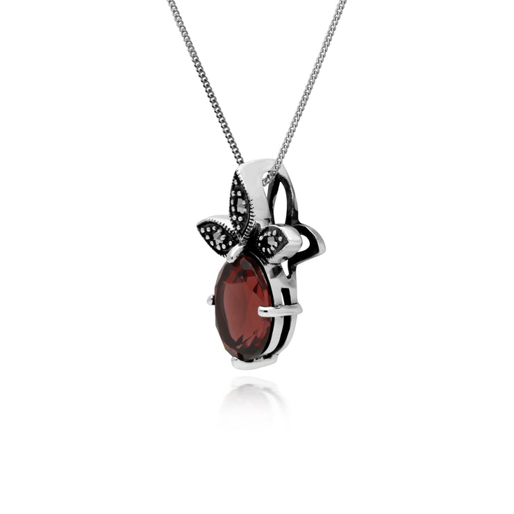 Gemondo Sterling Silver Garnet & Marcasite January Pendant on 45cm Chain