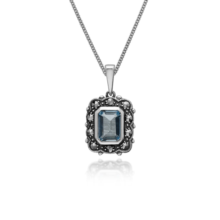 Art Deco Style Octagon Blue Topaz & Marcasite Pendant in 925 Sterling Silver