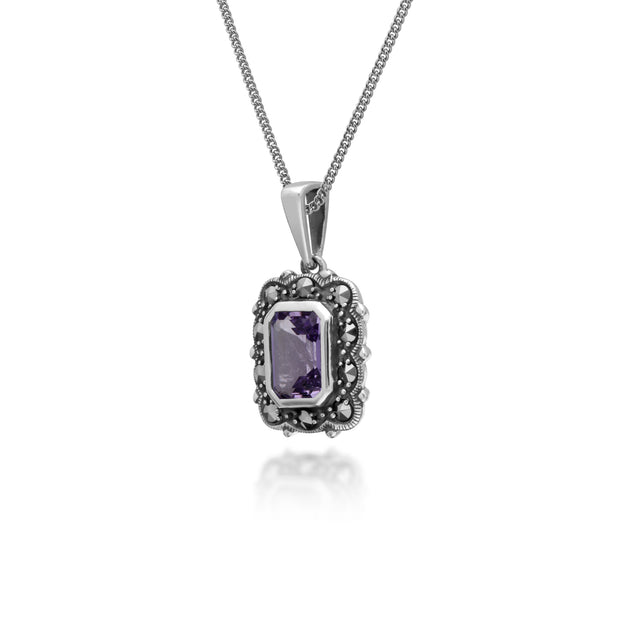Art Deco Style Octagon Amethyst & Marcasite Pendant in 925 Sterling Silver
