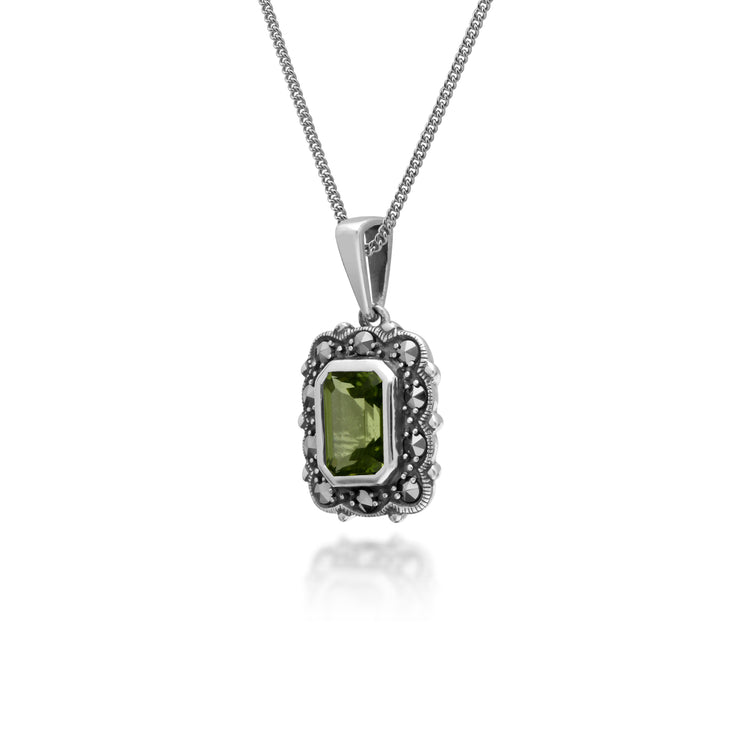Art Deco Style Octagon Peridot & Marcasite Pendant in 925 Sterling Silver