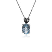 Gemondo Sterling Silver Blue Topaz & Marcasite Oval 45cm Necklace