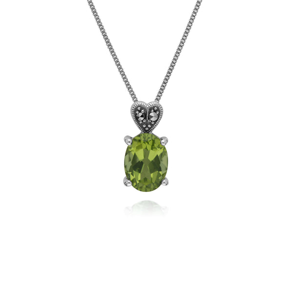 Art Deco Style Oval Peridot & Marcasite Heart Pendant in 925 Sterling Silver