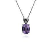 Gemondo Sterling Silver Amethyst & Marcasite Oval 45cm Necklace