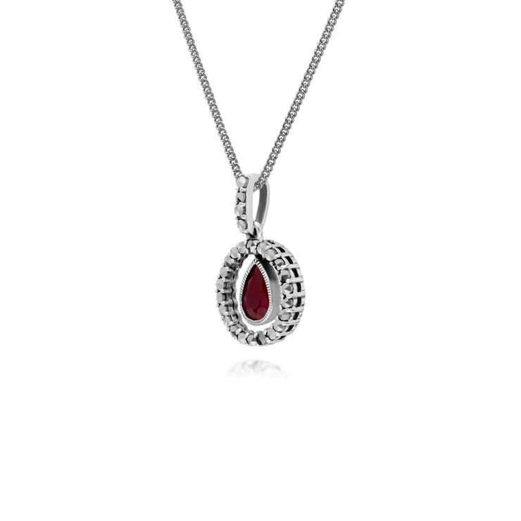 Classic Pear Ruby & Marcasite Halo Pendant in 925 Sterling Silver